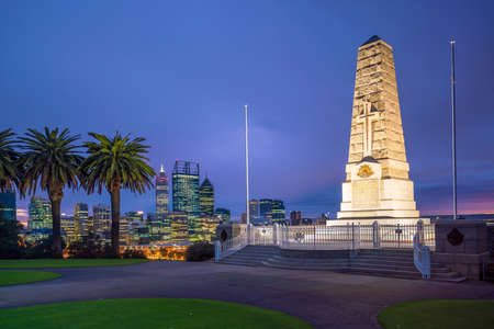 Kings park, in downtown Perth skyline in Australia at twilight