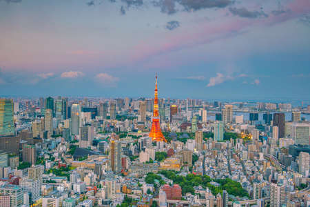 Tokyo skyline  with Tokyo Tower at twilight in Japan Stock Photo