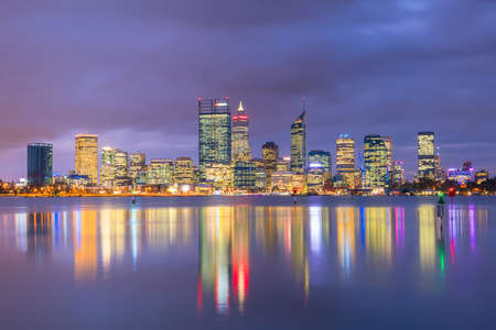 Downtown Perth skyline in Australia at twilight