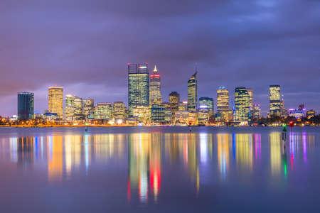 Downtown Perth skyline in Australia at twilight