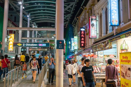 SINGAPORE - AUGUST 11:  Singapore Chinatown food street on August 11, 2017