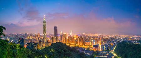 City of Taipei skyline at twilight in Taiwan