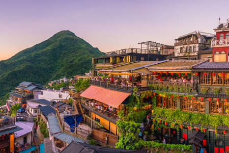 대만 타이페이의 Jiufen Old Street의 톱보기 스톡 콘텐츠