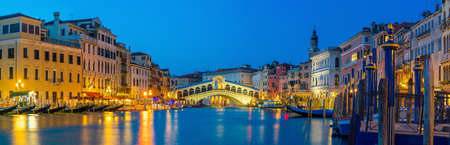 Rialto Bridge in Venice, Italy at twilight