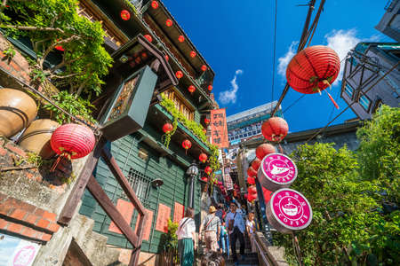 JIUFEN,TAIWAN - JULY 27: Local and tourist are walking and shopping at Jiufen old street in Ruifang district,Taiwan on July 27, 2017. Editorial
