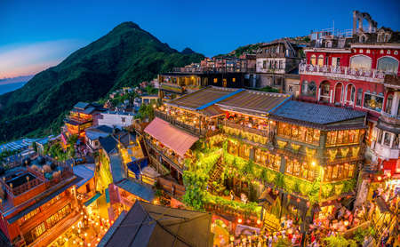 Top view of Jiufen Old Street in Taipei Taiwan Stock fotó - 84328061