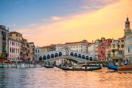 Rialto Bridge in Venice, Italy at twilight