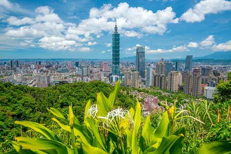 Skyline of downtown Taipei in Taiwan with blue sky