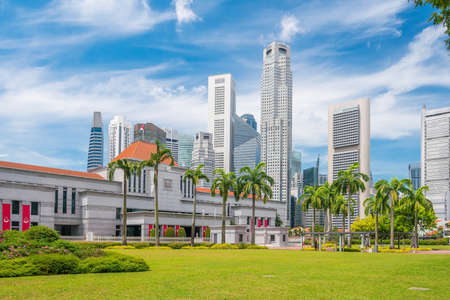 Singapore Parliament in downtown with blue slky