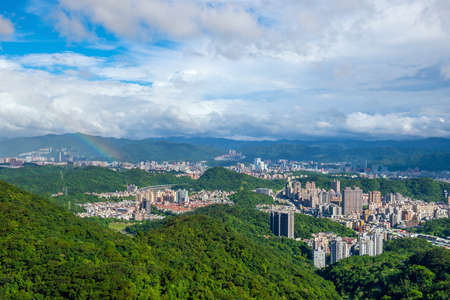 retail scene: Taipei city skyline in Taiwan with blue sky