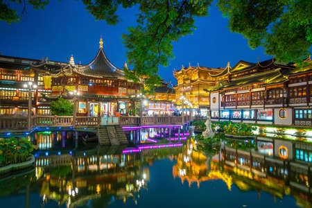 Shanghai, China view at the traditional Yuyuan Garden District at twilight
