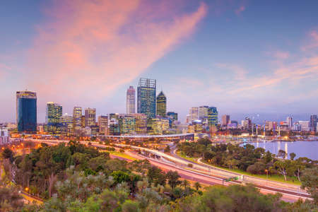 perth: Downtown Perth skyline in Australia at twilight