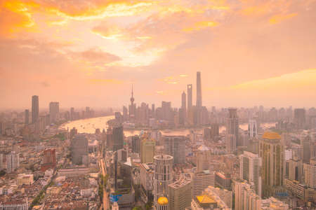 View of downtown Shanghai skyline at twilight in China