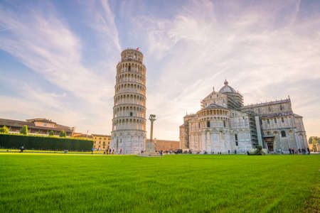 Pisa Cathedral and the Leaning Tower in a sunny day in Pisa, Italy. Zdjęcie Seryjne