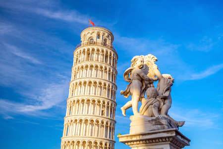 The Leaning Tower in a sunny day in Pisa, Italy.