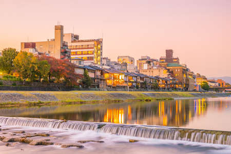 Old house, restaurant and Kamo river at twilight, Gion, Kyoto, Japan