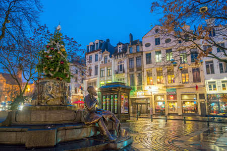 Brussels, Belgium - December 4, 2017: Vintage buildings in downtown area Brussels, Belgium at twilight