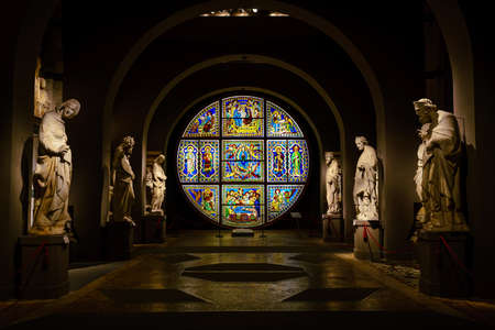 SIENA, ITALY - OCT 21, 2017: Interior of  Museo dellOpera del Duomo It is a very famous museum in  Siena, Italy.