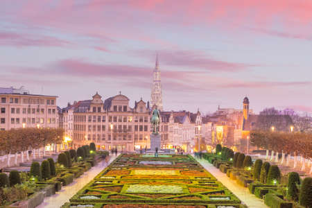 Brussels cityscape from Monts des Arts at twilight in Belgium