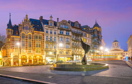 Brussels cityscape from Monts des Arts at twilight in Belgium 写真素材