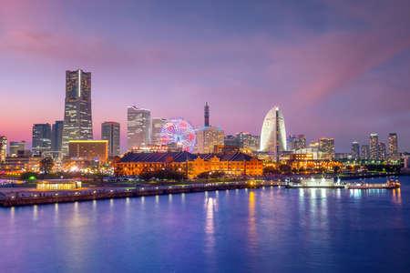 Cityscape of  Yokohama in Japan at twilight