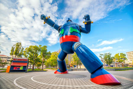 KOBE, JAPAN - NOV 7 : The Gigantor robot monument at Shin-nagata Station on November 11, 2017 in Kobe. The character is from the cartoon Testsujin 28