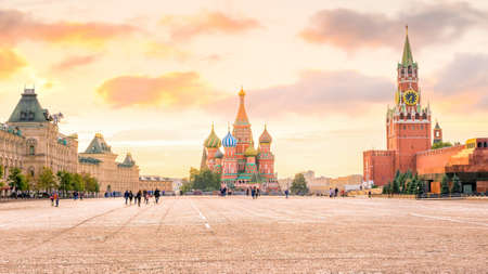 Basils cathedral at Red square in Moscow, Russia at sunrise