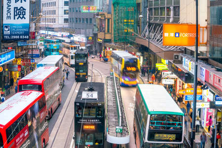 HONG KONG - JAN 22 : Traditional tramways cars in downtown Central area in Hong Kong on January 22, 2018 Editorial