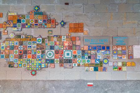 RIOMAGGIORE, ITALY - OCT 17: Art decoration at Riomaggiore tunnel in Cinque Terre, Italy  on October 17, 2017