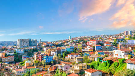 Colorful buildings of the  city of Valparaiso, Chile