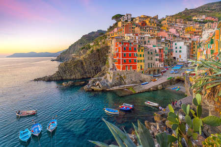 Riomaggiore, the first city of the Cique Terre sequence of hill cities in Liguria, Italy
