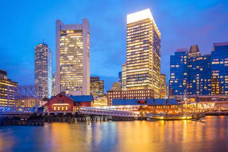 Boston Harbor skyline at twilight, Massachusetts in United States