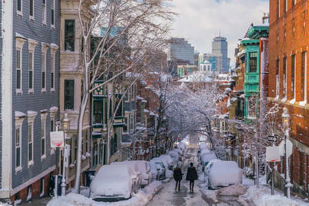 Houses in historic Bunker Hill area after snow storm in Boston, Massachusetts USA Stock Photo