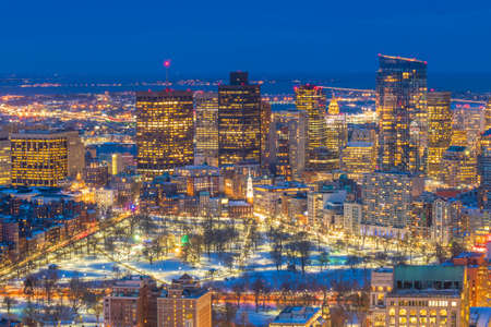 Aerial view of Boston skyline and Boston Common park in Massachusetts, USA at sunset in winter