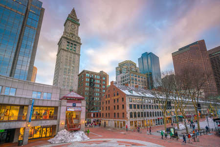 BOSTON, MASSACHUSETTS - MARCH 12 : Outdoor market at Quincy Market  and South Market  in the historic area of Boston on March 12, 2018