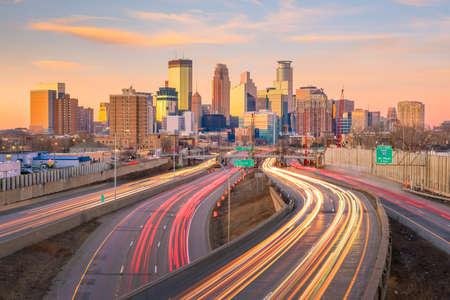 Minneapolis downtown skyline in Minnesota, USA at sunset Stock Photo