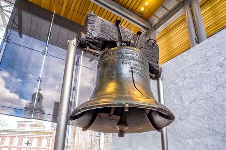 Liberty Bell (267 years old) was made in 1751, symbol of American freedom in Independence Mall building in Philadelphia, Pennsylvania USA
