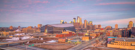 Minneapolis downtown skyline in Minnesota, USA at sunset Stock Photo