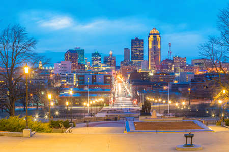 Des Moines Iowa skyline in USA (United States)