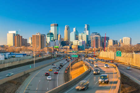 Minneapolis downtown skyline in Minnesota, USA at sunset Editorial