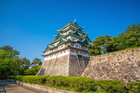 Nagoya castle and city skyline in Japan