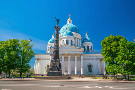 Trinity Cathedral in St. Petersburg with blue sky in Russia