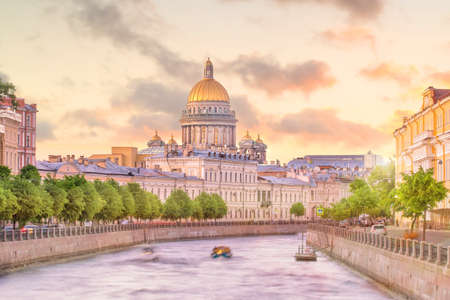 Saint Isaac Cathedral across Moyka river in St. Petersburg, Russia