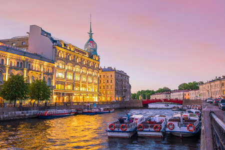 Old town St. Petersburg skyline at sunset in Russia Stock Photo - 105180761