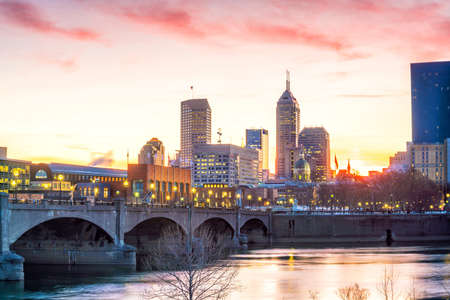 Downtown Indianapolis skyline at twilight in USA Stock Photo - 105180782