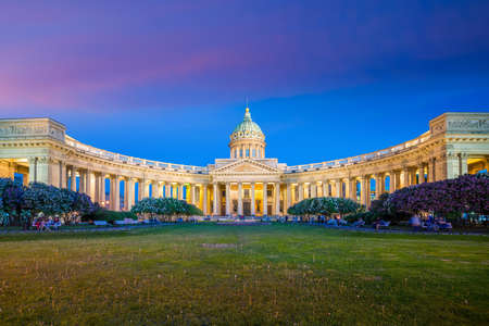 Cathedral of Our Lady of Kazan in St. Petersburg at twilight, Russia Stock Photo - 105180788