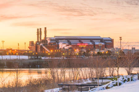 Indianapolis, Indiana, USA - MARCH 26, 2018: Lucas Oil Stadium at twilight. It is a home to Indianapolis Colts.