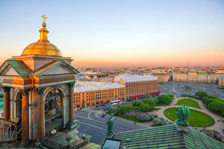 Old town St. Petersburg skyline from top view at sunset in Russia