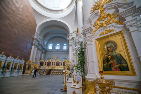 ST PETERSBURG, RUSSIA - MAY 28, 2018 : Interior of St. Petersburg, Russia, Resurrection cathedral of Resurrection Novodevichiy Smolniy cloister Editorial
