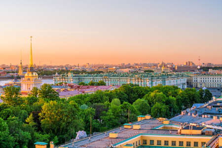 Old town St. Petersburg skyline from top view at sunset in Russia Stock Photo - 105180775